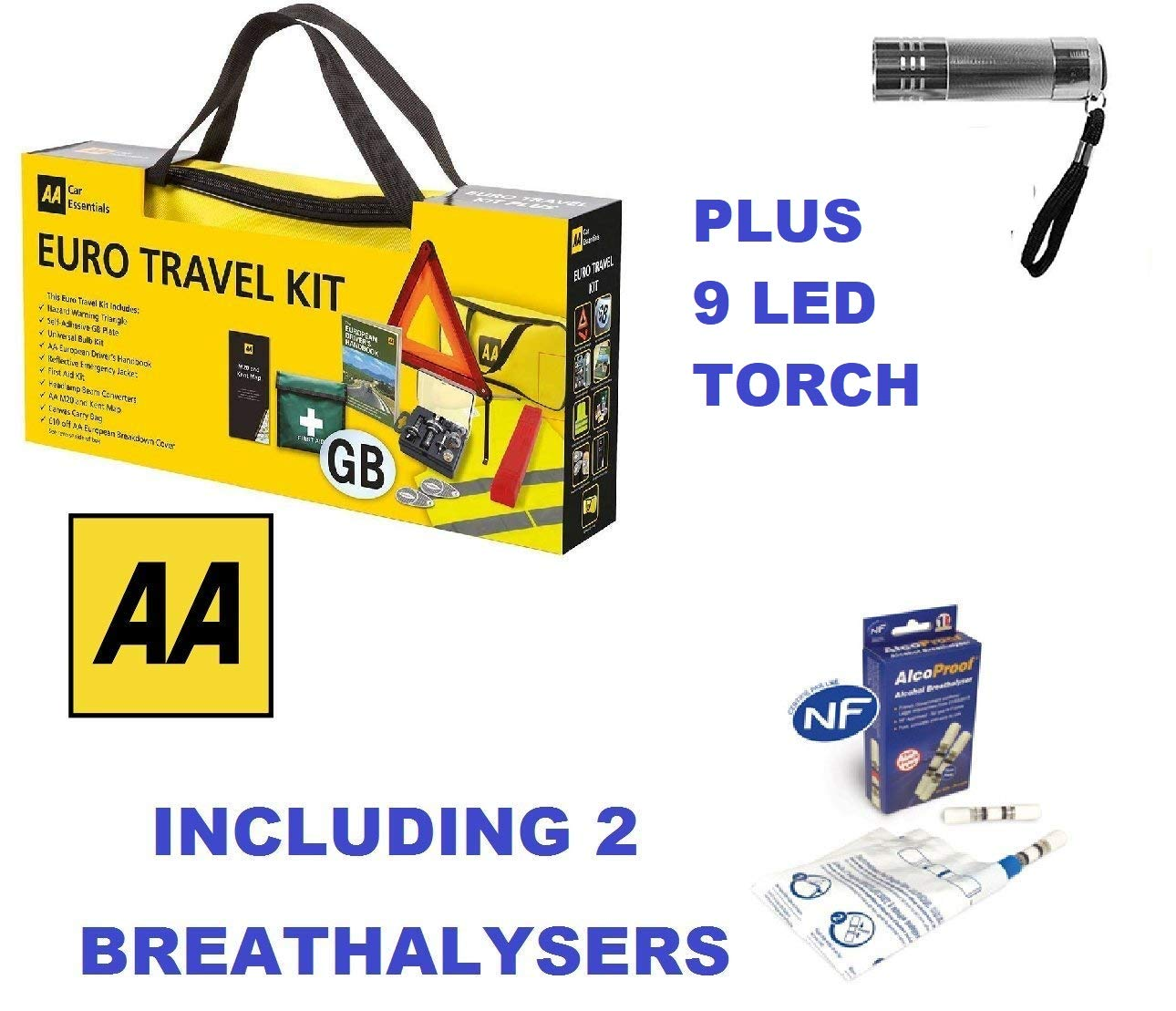 AA Car Euro Travel Kit - Including 2 Pack Breathalyser & 9 LED Aluminium Torch Roaduserdirect Car Care Packages