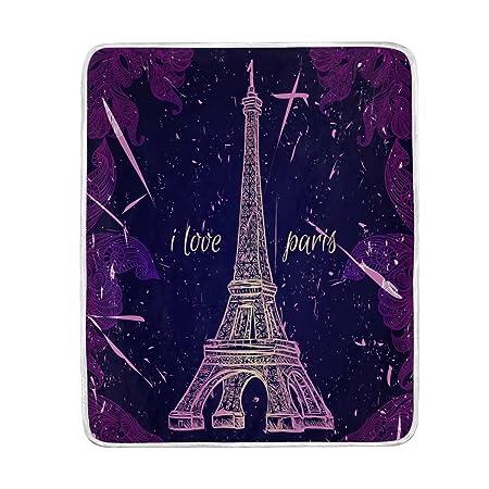 ALAZA romántico París Torre Eiffel Vintage morado manta suave ...