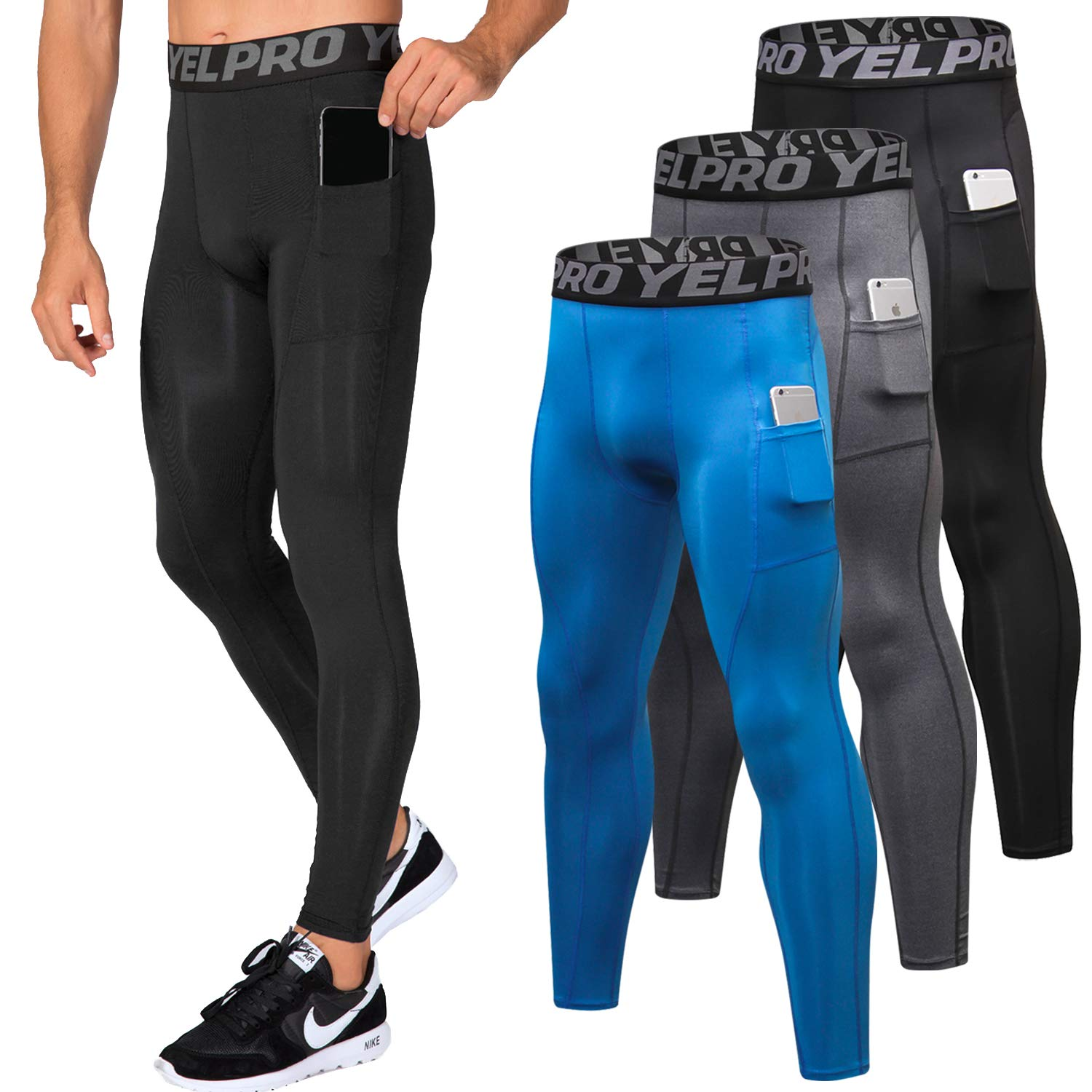 Lavento Men's Compression Pants Baselayer Cool Dry Pocket Running Ankle Leggings Active Tights (3 Pack-3911 Black/Gray/Blue,Small) by Lavento