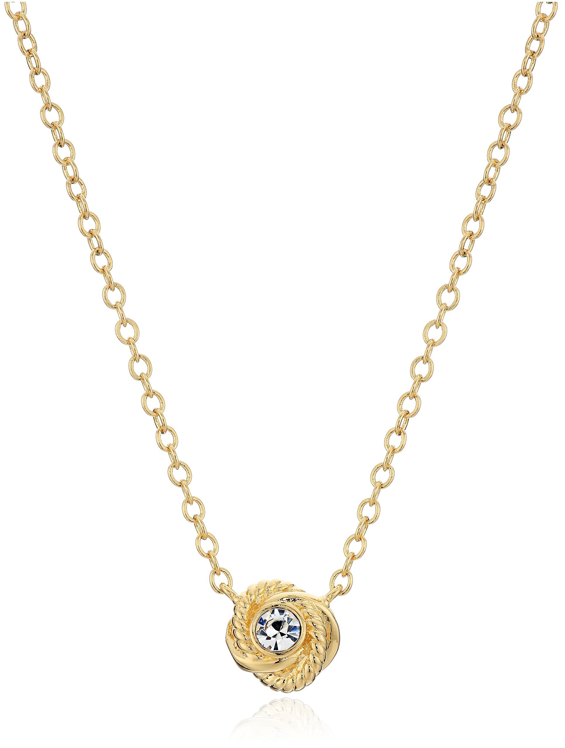 Kate Spade New York ''Infinity and Beyond Clear/Gold Knot Mini Pendant Necklace
