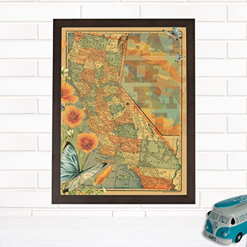 Amazon Com Vintage California Map Wall Art Golden State Wendy