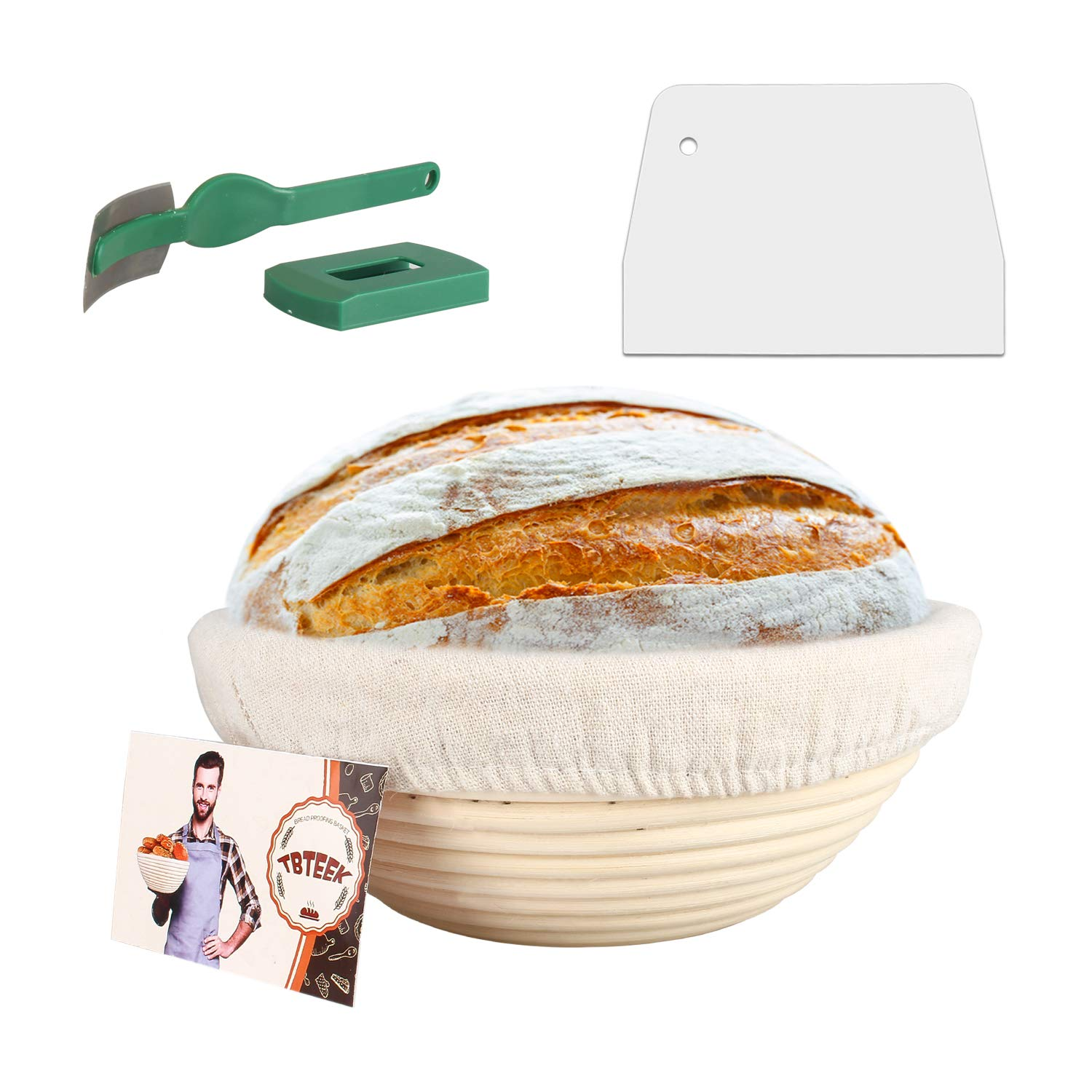 "10"" Banneton Bread Proofing Basket Set-Brotform Rattan Basket with(Cloth Liner,Dough Scraper,Bread Lame,Instruction) for Rising Round Crispy Crust Baked Bread Making Dough Loaf Boules"