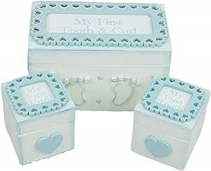 Juego de 3 cajas de recuerdo de madera para guardar los dientes y los niños, para bebé, bautizo, regalo de encaje con recortes, recuerdos de baby shower, recién nacido, primer regalo: Amazon.es: