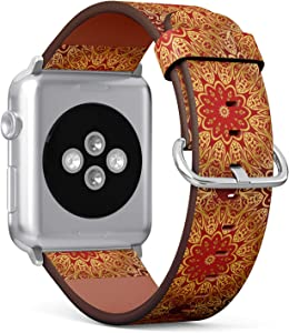 Compatible with Apple Watch 42/44mm (Big) - Replacement Accessory Leather Band Strap Bracelet Wristbands with Adapters (Decorative Colorful Ornament Round Mandala)