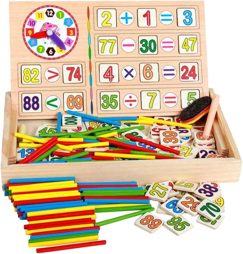 Including Wooden Sticks Clocks and Counting Rods Children Number Cards Calculation Time Learning Tool Math Educational Toy