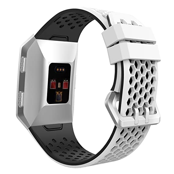8a92b267b MoKo Fitbit Ionic Watch Band, Soft Silicone Perforated Adjustable  Replacement Sport Strap for Fitbit Ionic