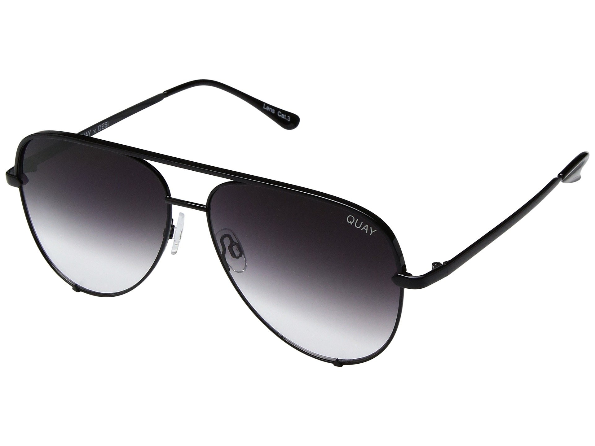 Quay Australia HIGH KEY Men's and Women's Sunglasses Classic Oversized Aviator - Black/Fade by Quay Australia