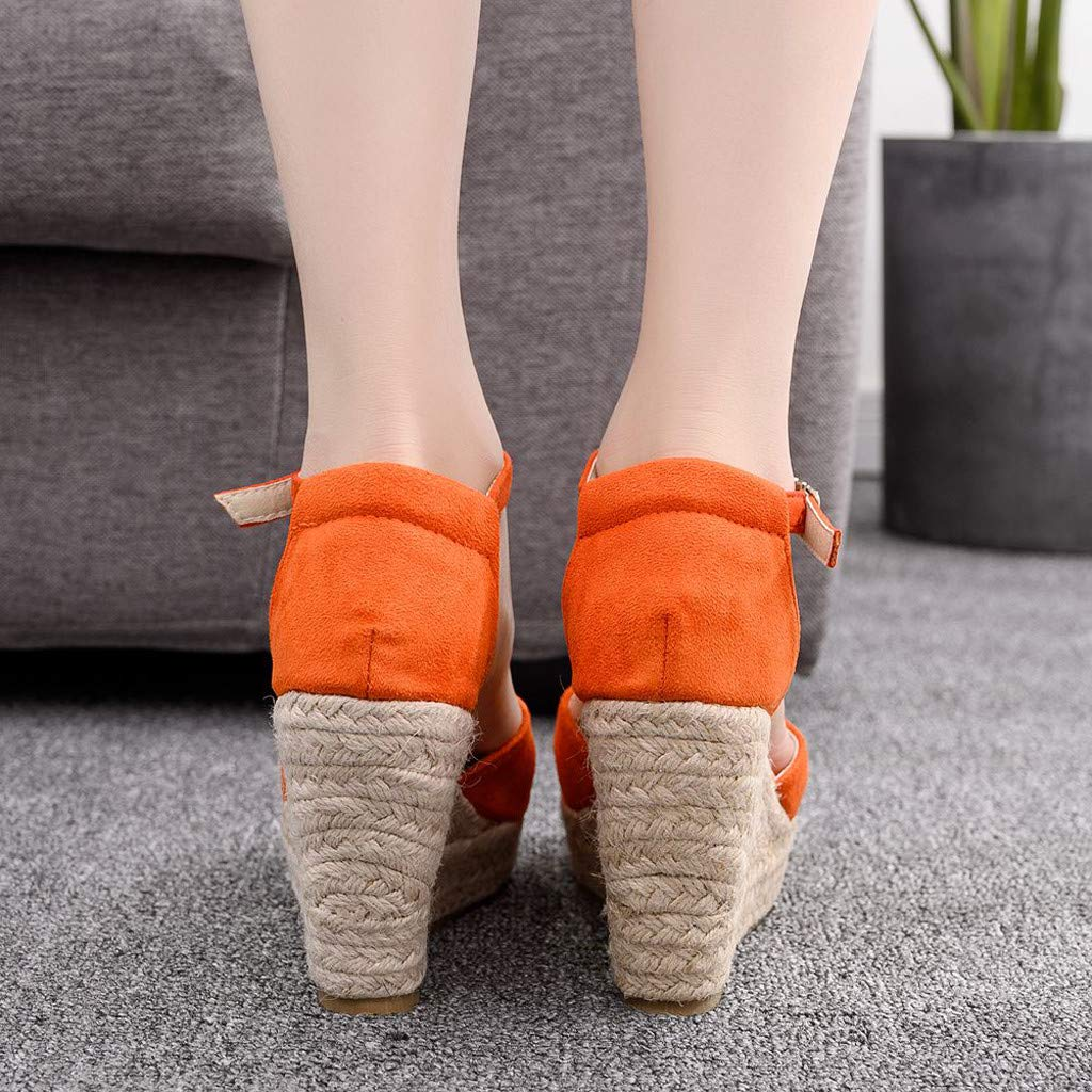Wedge Sandals for Women,Summer Women Platform Shoes Ankle Strap Espadrille Wedge Heel Sandals (US:6, Orange) by Yihaojia Women Shoes (Image #3)
