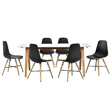 en.casa] Design Esstisch mit 6 Stühlen weiß/Bambus / Schwarz ...