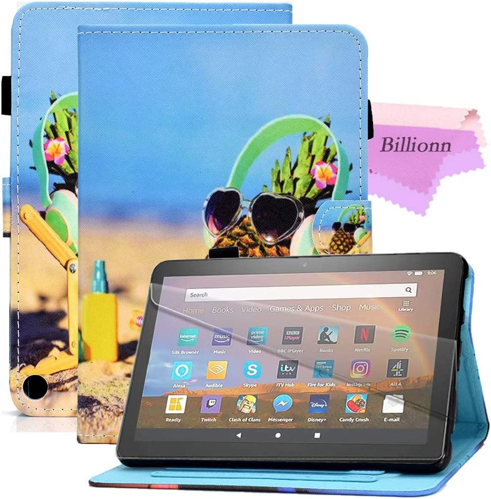 Billionn Case for All-New Amazon Fire HD8 2020 and HD8 Plus 2020 Tablet (10th Generation, 2020 Release), Smart Stand Leather Case [Anti Slip Strip] [Auto Sleep/Wake], Pineapple