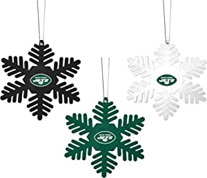 FOCO NFL Christmas Ornament Set - 3 Piece Multi-Colored Metal Snowflakes Holiday Tree Decoration – Show Your Team Spirit with Officially Licensed Football Fan Decor