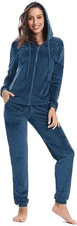Aibrou Women's Velour Sweatsuit Set Active Casaul Hoodie Pants Tracksuit Set Velvet Womens Jogger