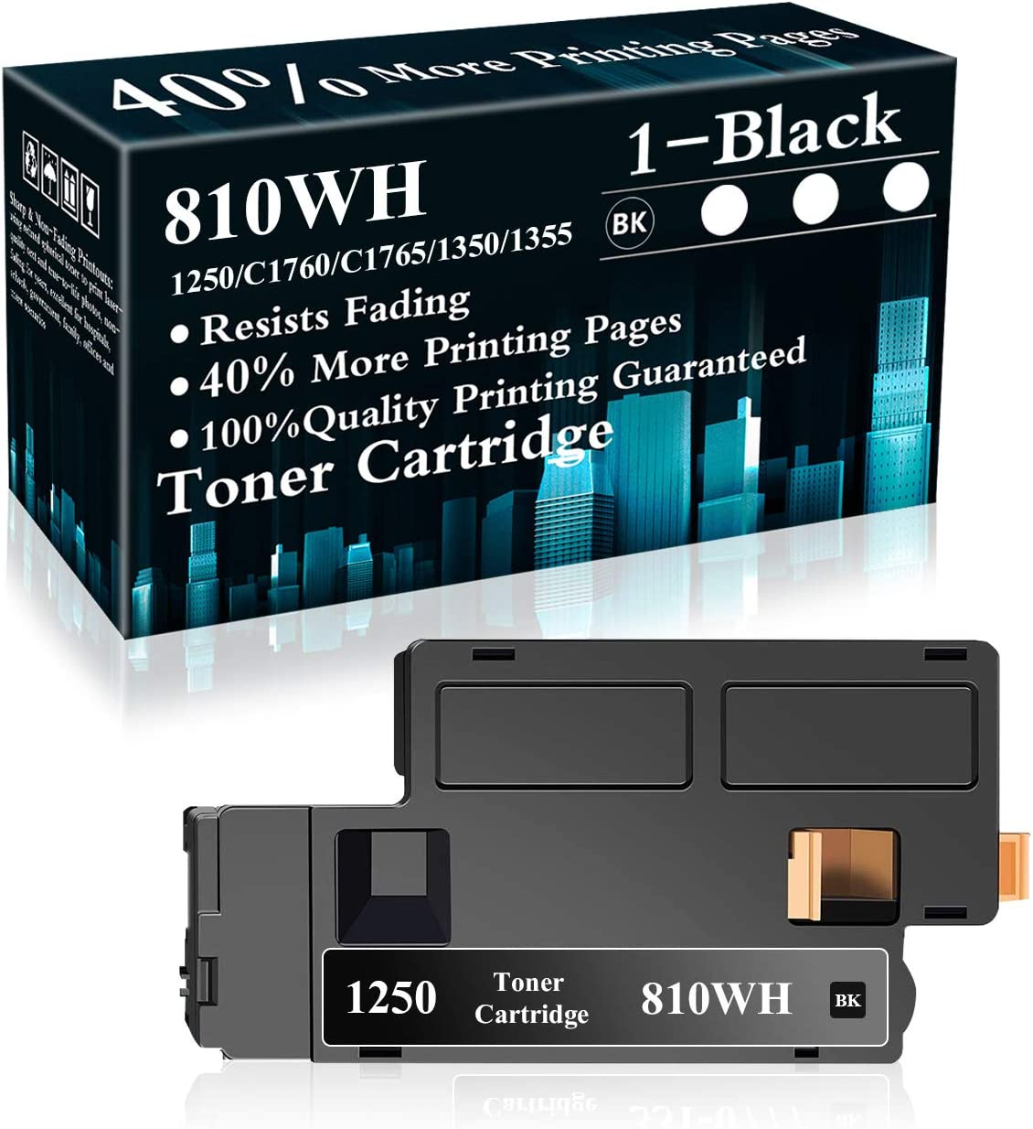 1 Black 810WH Toner Cartridge Replacement for Dell 1250c C1760nw C1765nfw C1765nf 1350cnw 1355cn 1355cnw Printer,Sold by TopInk
