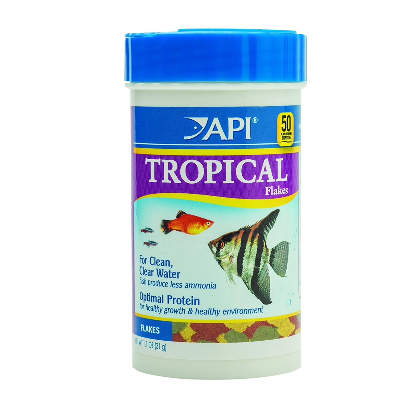 API TROPICAL FLAKES Fish Food 1.1-Ounce Container 820B - 1