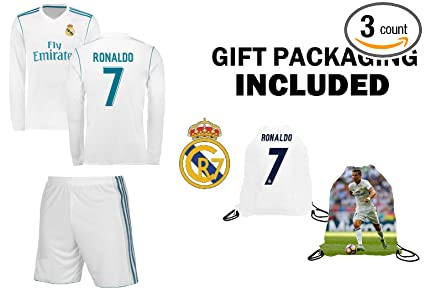 36083c49f Fan Kitbag Ronaldo #7 Real Madrid Home Long Sleeve Youth Soccer Jersey & Shorts  Kids