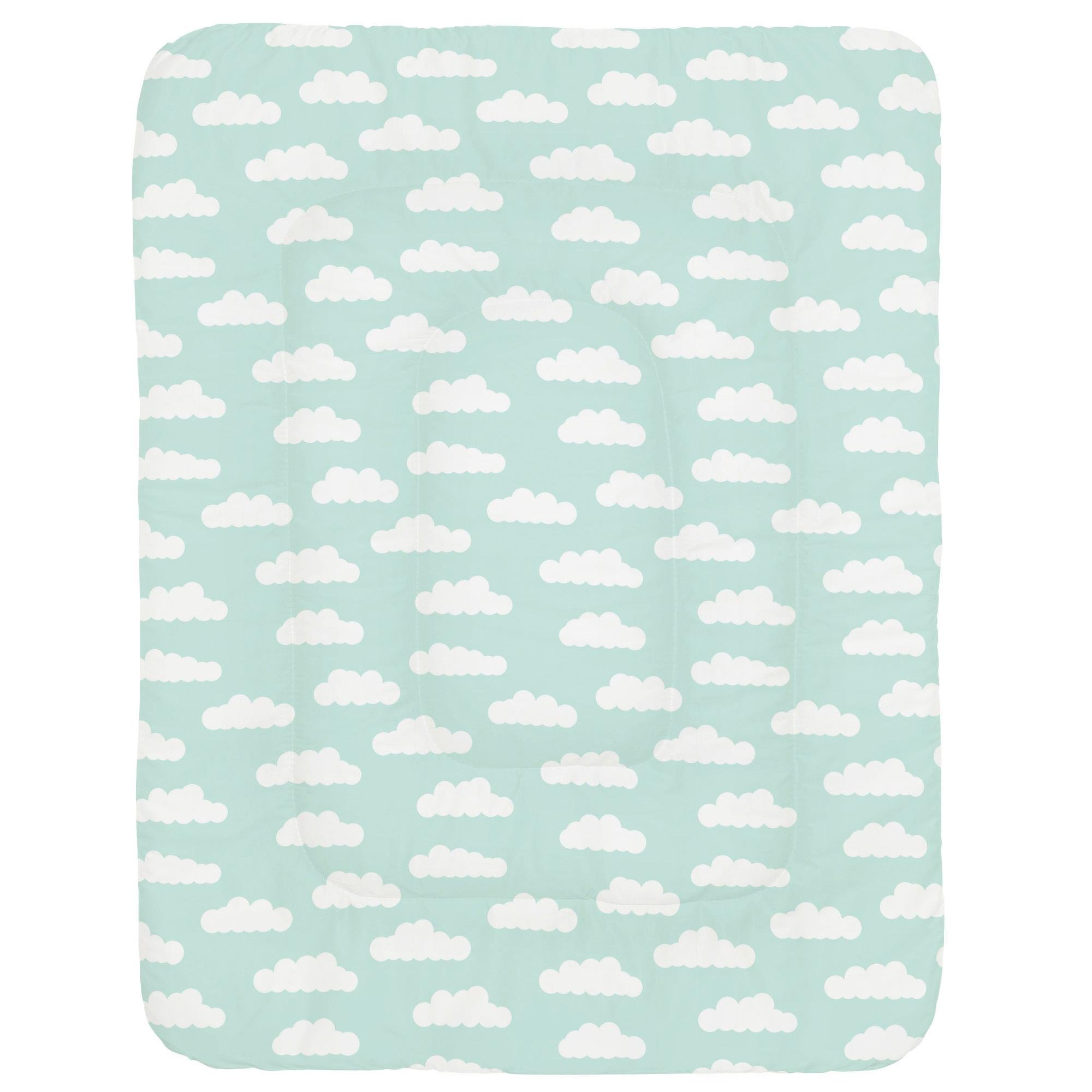 Carousel Designs Icy Mint and White Clouds Crib Comforter