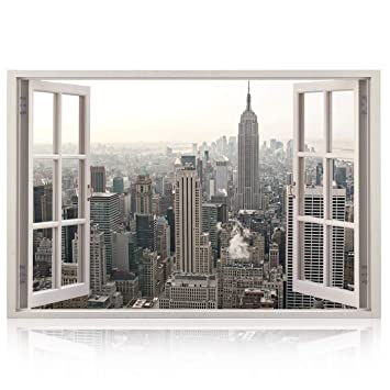 Realistic New York Poster Window Wall Decal Peel And Stick Urban Decor For Living Room Bedroom Office Playroom Wall Murals Removable Window
