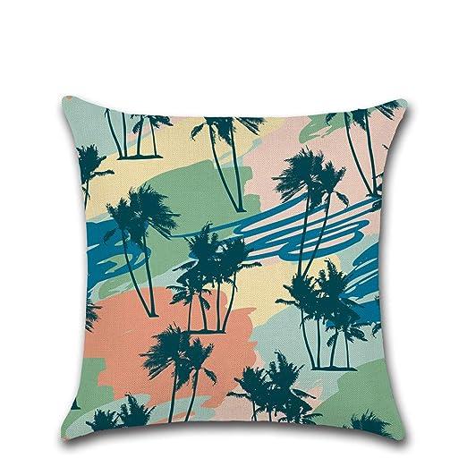 Funda de cojín con diseño de palmeras tropicales, color ...
