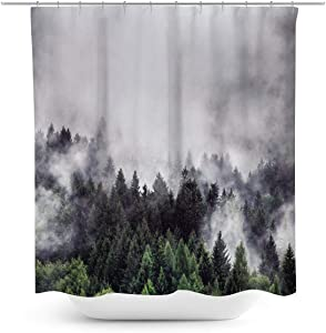 Coxila Forest Landscape Shower Curtain Nature Smokey Green Pine Tree Woodland Scenery 60 x 72 Inch Polyester Fabric Waterproof 12 Pack Plastic Hooks