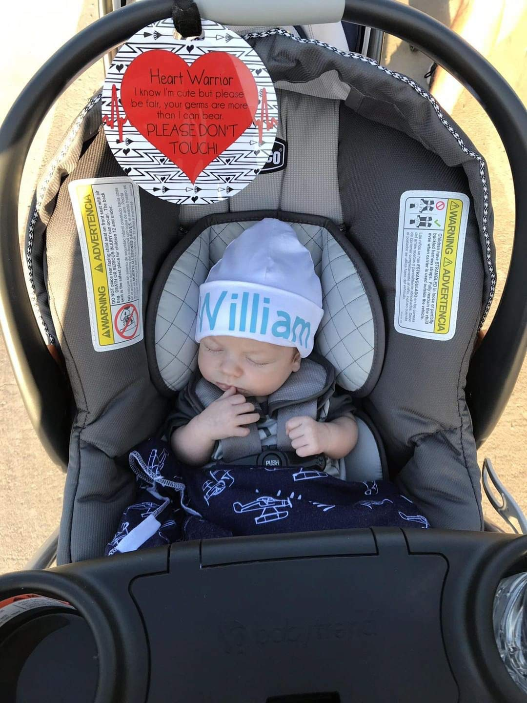 CPSIA Safety Tested Three Little Tots Two Pack Blue Boy Preemie No Touching Baby Car Seat and Stroller Signs Gift