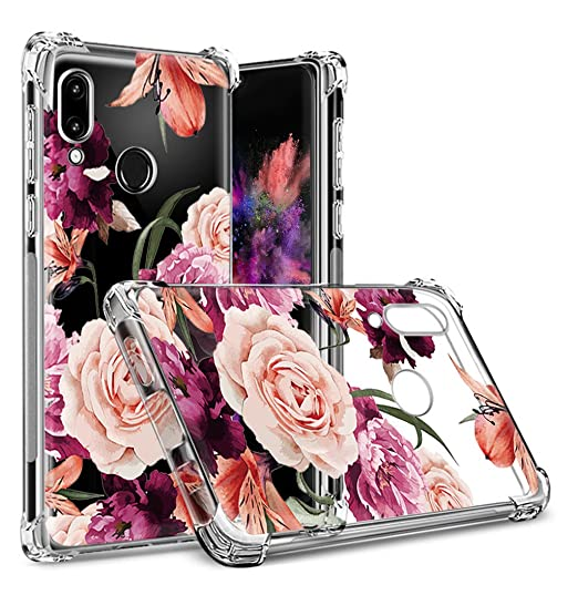 Huawei Honor 8X Case,Honor 8X Case with Flower,LUOLNH Slim Shockproof Clear  Floral Pattern Soft Flexible TPU Back Cover for Huawei Honor 8X(Purple)