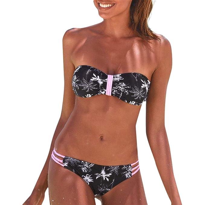 Conjunto De Bikini Mujer Bandage Sin Correas De Espagueti Sujetador Push-up con Relleno Traje De Baño De Playa con Estampado Sexy Cintura Baja Color Solido: ...