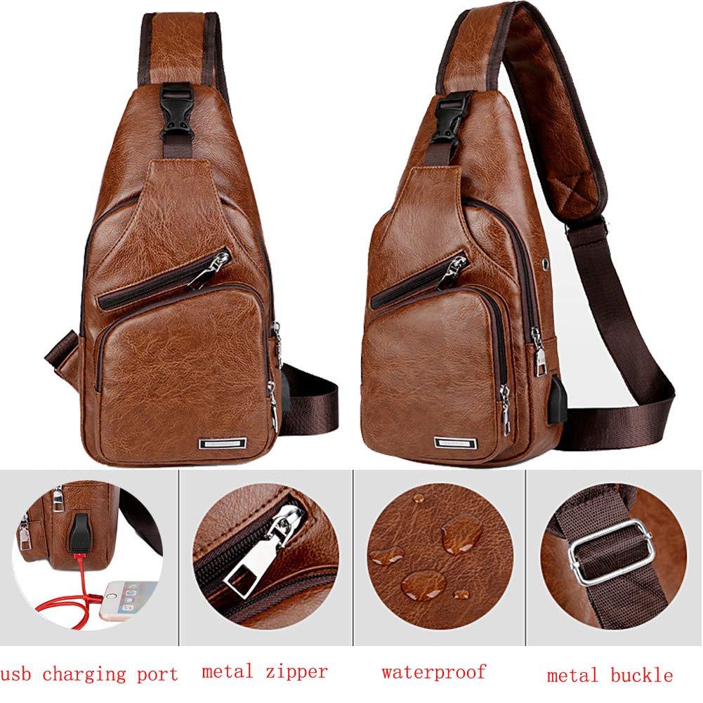 Sling Bag Men Chest Shoulder Backpack Crossbody Bag with USB Charging Port for Women Hiking Cycling Camping Daypacks (drak brown -3) by MeKaren (Image #3)