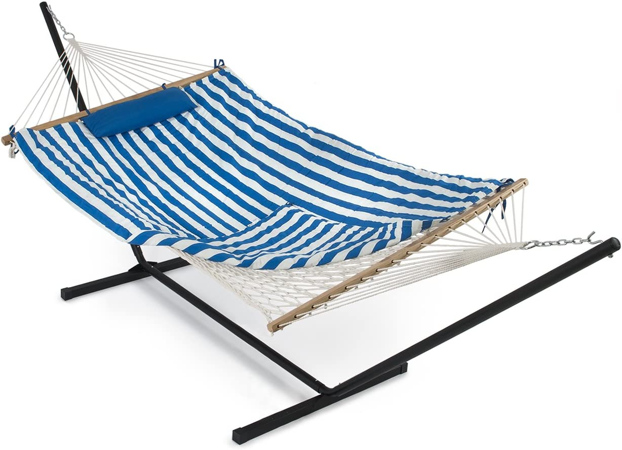 BELLEZE 12 ft Rope Hammock Combo with Stand Pad and Pillow iPad and Cup Holder Blue and White Stripe