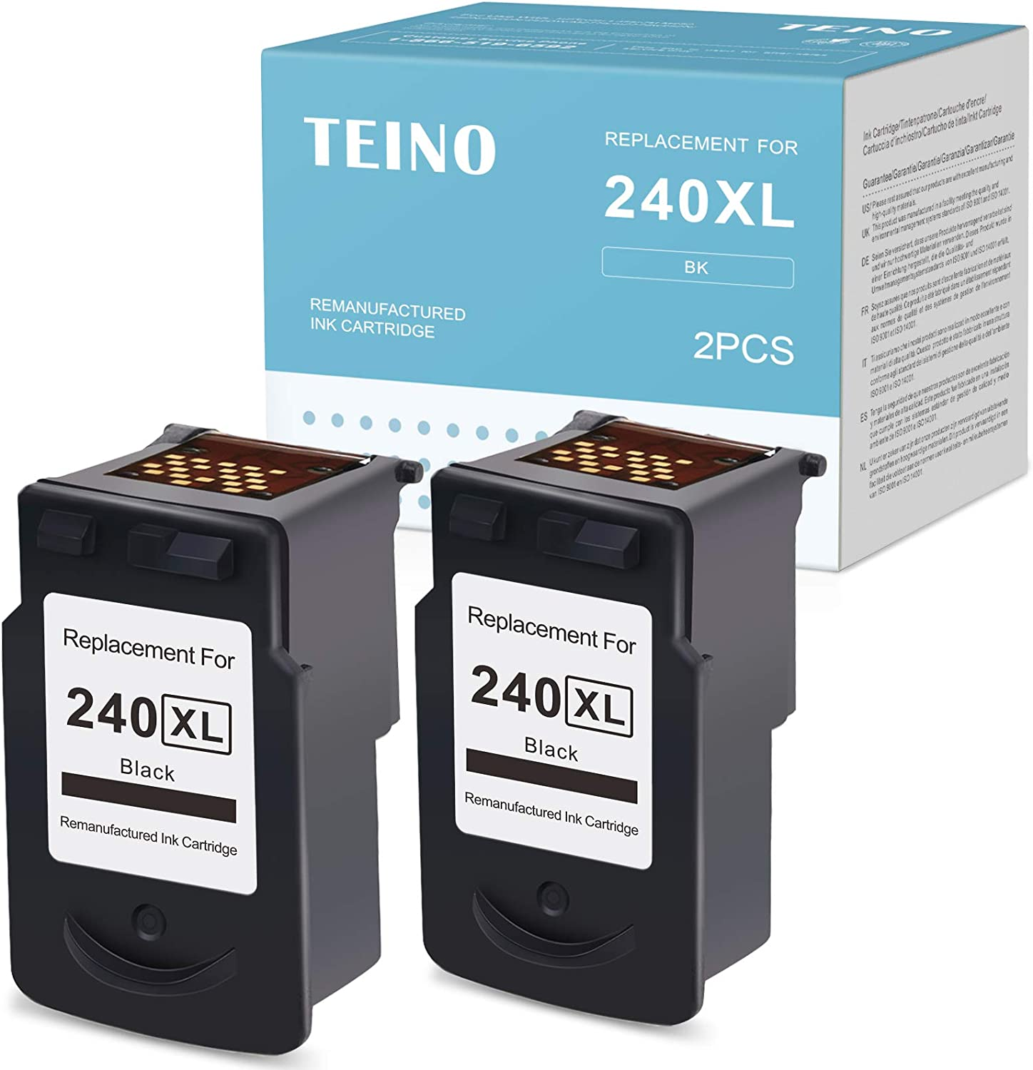 TEINO Remanufactured Ink Cartridges Replacement for Canon PG-240XL 240XL 240 use with Canon PIXMA TS5120 MG3620 MX532 MG3520 MX452 MX472 MX432 MG2120 MG3222 MG3220 MG3122 MX479 MX512 (Black, 2-Pack)