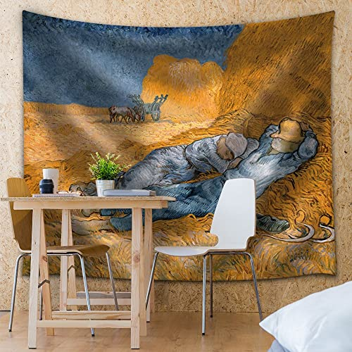 wall26 – Noon, Rest from Work by Vincent Van Gogh – Fabric Tapestry, Home Decor – 68×80 inches