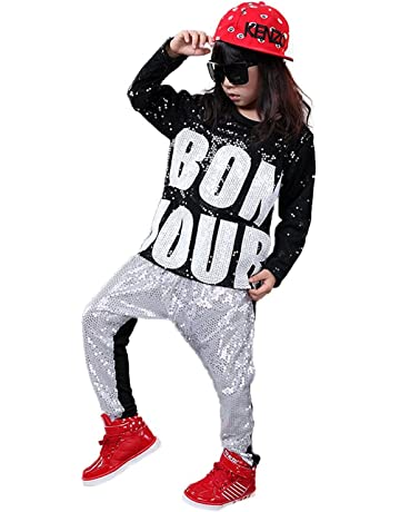 e09037ea43 DREAMOWL Girls Boys Sequin Hip Hop Dance Costumes Ballroom Modern Jazz Clothing  Top Pants