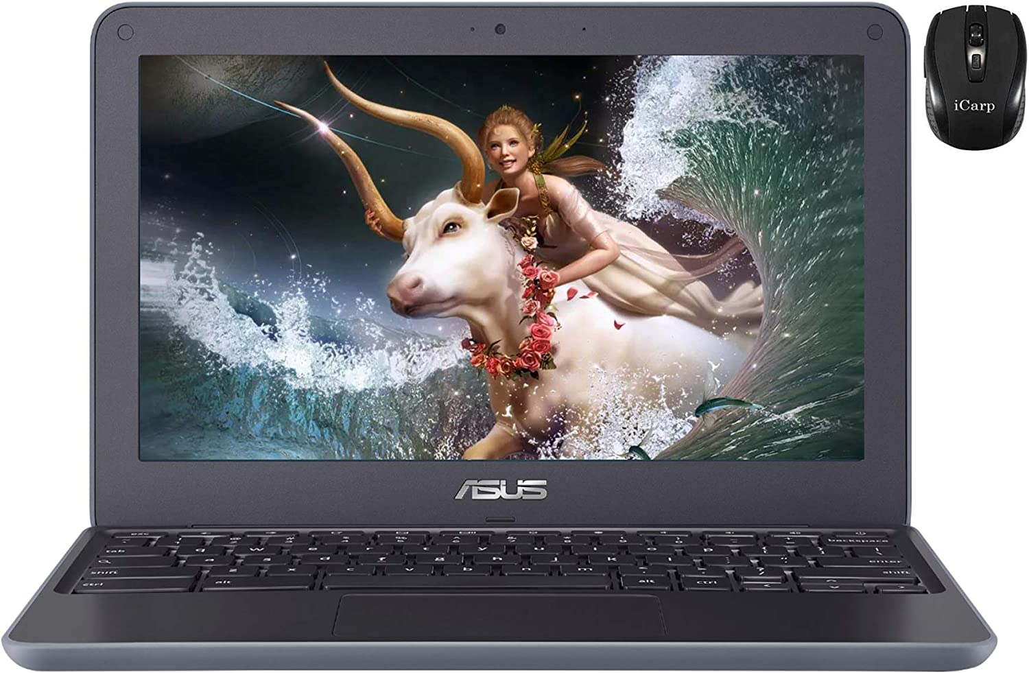 "2020 Flagship ASUS Chromebook Laptop Computer 11.6"" HD Anti-Glare Display Media Tek 4-core MT8173C Processor 4GB RAM 32GB eMMC Type-C HDMI Wifi5 HD Webcam Chrome OS + iCarp Wireless Mouse"