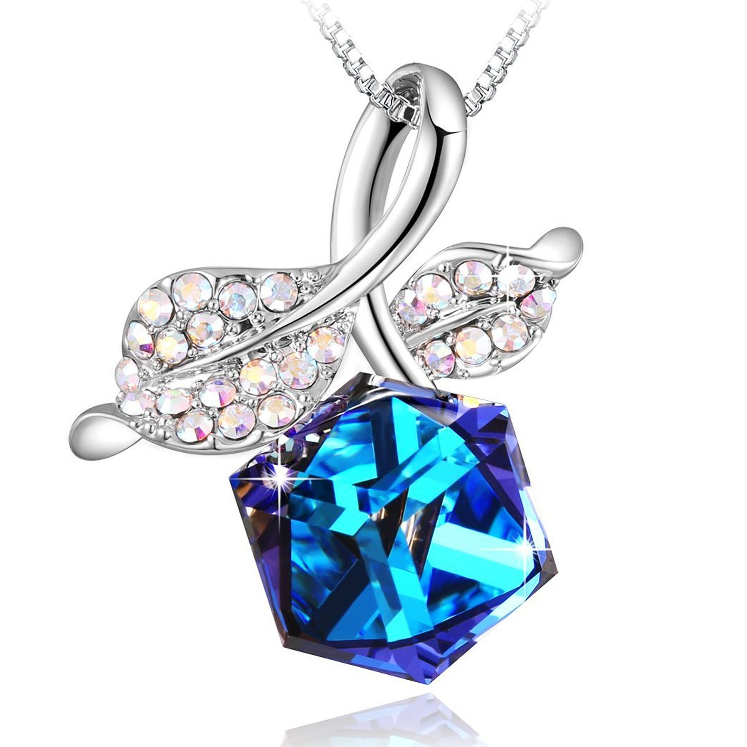 4ba5b4c96f62 PLATO H Women Necklace - Romantic Rose Leaf and Cube Pendant Necklace with❤ Crystals from Swarovski❤