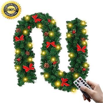 LNDDP Navidad Decoraciones Garland, 2,7 M chimeneas Escaleras Pino ConeDecorated guirnaldas 8 Modo Guirnalda Luces LED Iluminado Chucherías Bola la Flor del árbol Navidad Festiva D é Cor: Amazon.es: Deportes y aire