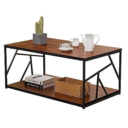Amazoncom Vecelo Modern Coffee Tea Tabledouble Storage Space