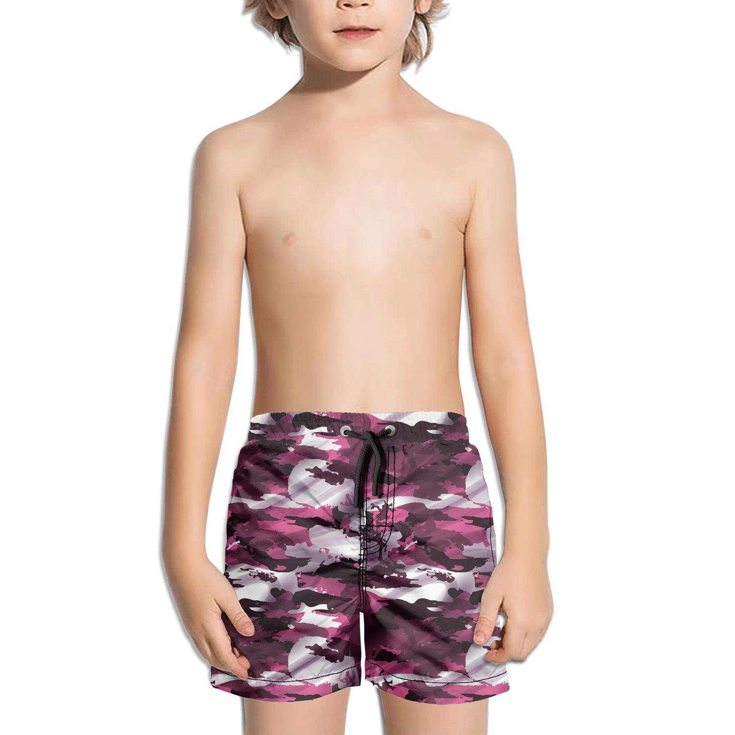 Lenard Hughes Boys Quick Dry Beach Shorts with Pockets Pink camo Sign Swim Trunks for Summer
