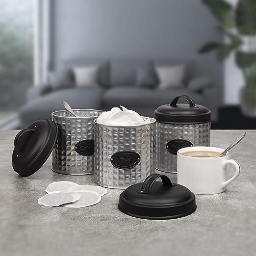 Set di 3 barattoli ermetici per t/è Zucchero e caff/è Colore Nero EHC