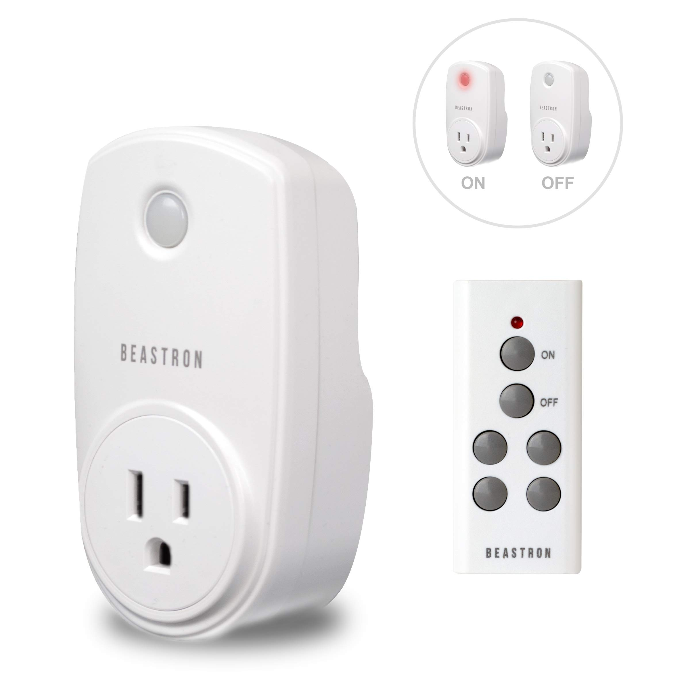 Beastron Remote Control Electrical Outlet Switch for Lights and Household Appliances with A 100 ft.Range, White (1Pack) by Beastron