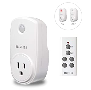 Beastron Remote Control Electrical Outlet Switch for Lights and Household Appliances with A 100 ft.Range, White (1Pack)