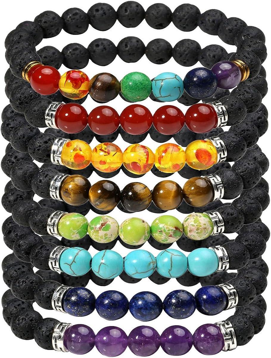 Timesuper Colorful Chakra Lava Stone Beads Elastic Bracelet Oil Diffuser Yoga Meditation Energy Jewelry