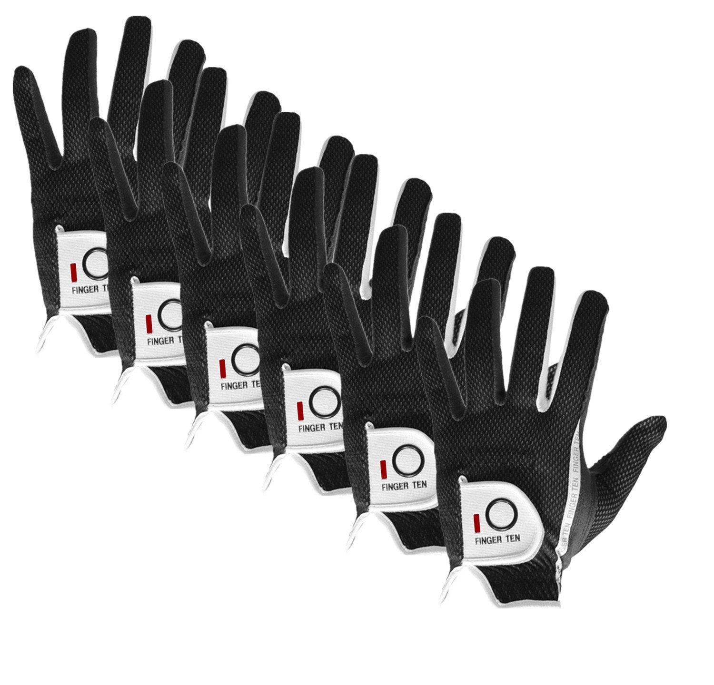 FINGER TEN Mens RainGrip Hot Wet Weather Comfort Extra Value Left Hand LH Right Hand RH Durable Golf Gloves Value 6 Pack