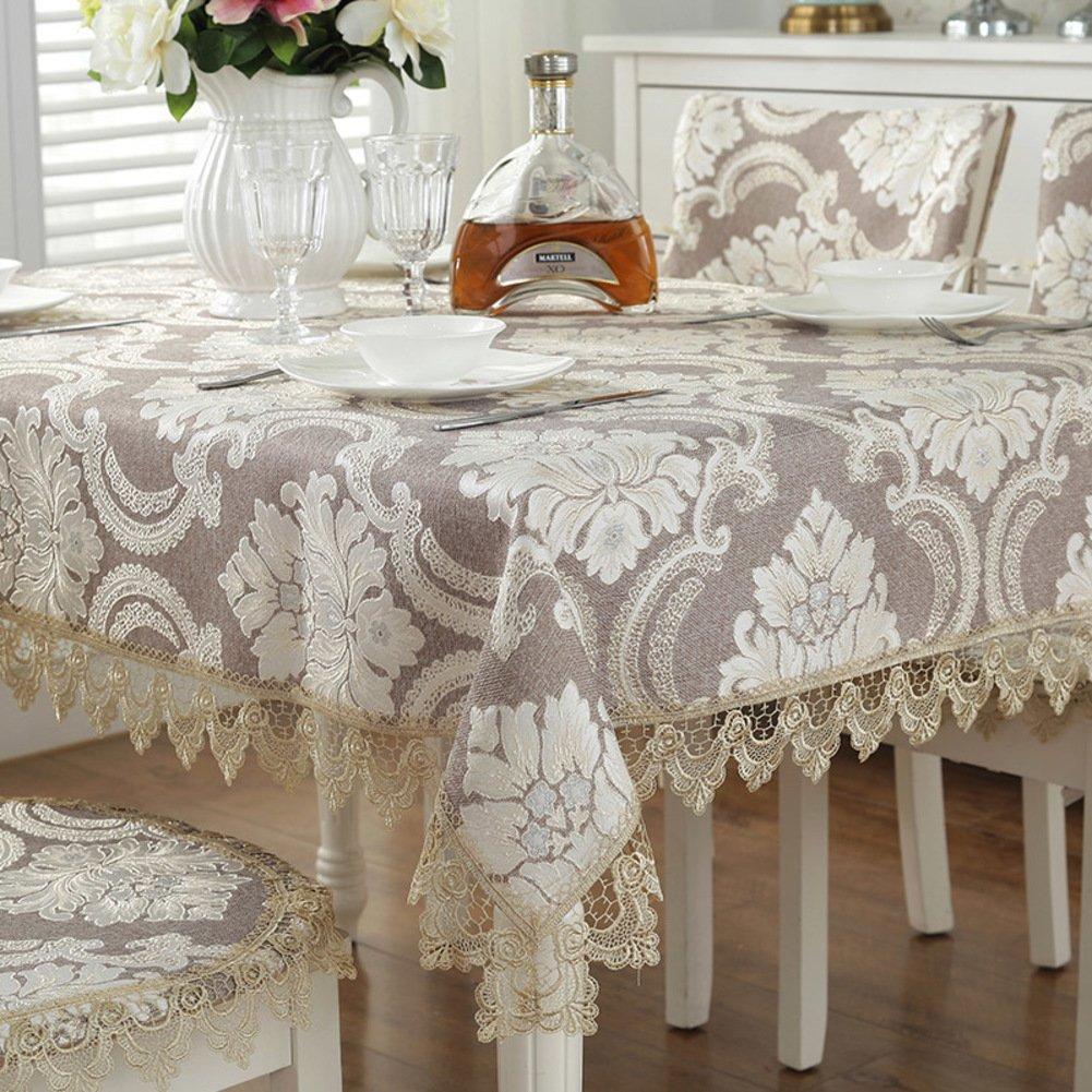 AMYDREAMSTRORE Tischtuch, Spitze Tee tischdecke, Bedeckung-tuch Jacquard Piano cover tuch Vintage square tischtuch-braun 60x60cm(24x24inch) NSGBBM