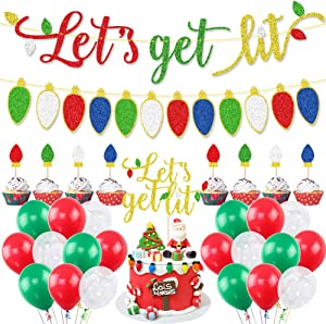 Let's Get Lit Decorations Kit,Glitter Let's Get Lit Banner,Let's Get Lit Cake Topper and Colorful Lightbulb Cupcake Toppers,Christmas Balloons for Christmas Holiday Party,Ugly Sweater Party Supplies,Mantel Home Decor