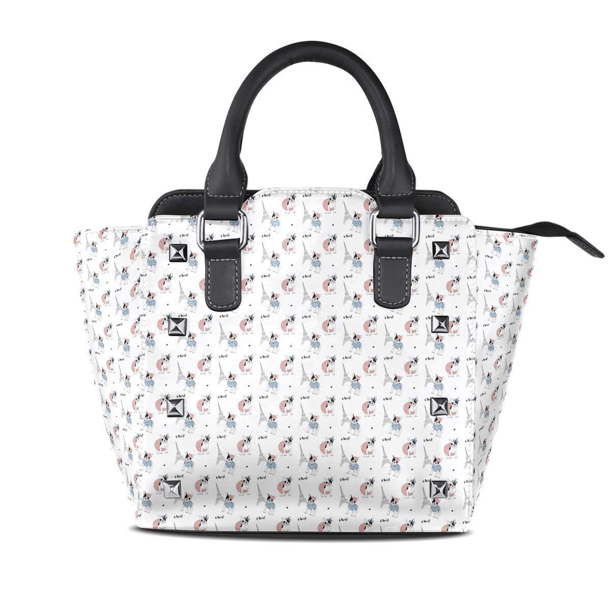 Design4 Handbag Cheetah Genuine Leather Tote Rivet Bag Shoulder Strap Top Handle Women