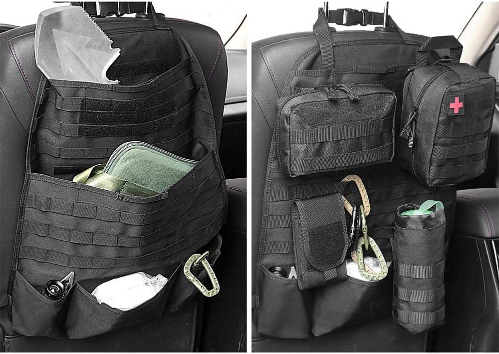 AIRSOFTPEAK Car Backseat Organizer Tactical Molle Panel Seat Back Protector Cover Nylon Vehicle Car Back Seat Cover Pocket Storage