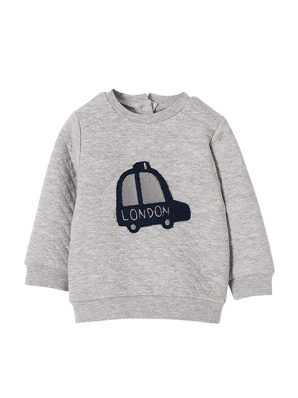 Vertbaudet Baby Boys' Sweatshirt Grey Flecked Grey 6 Months - 67 cm