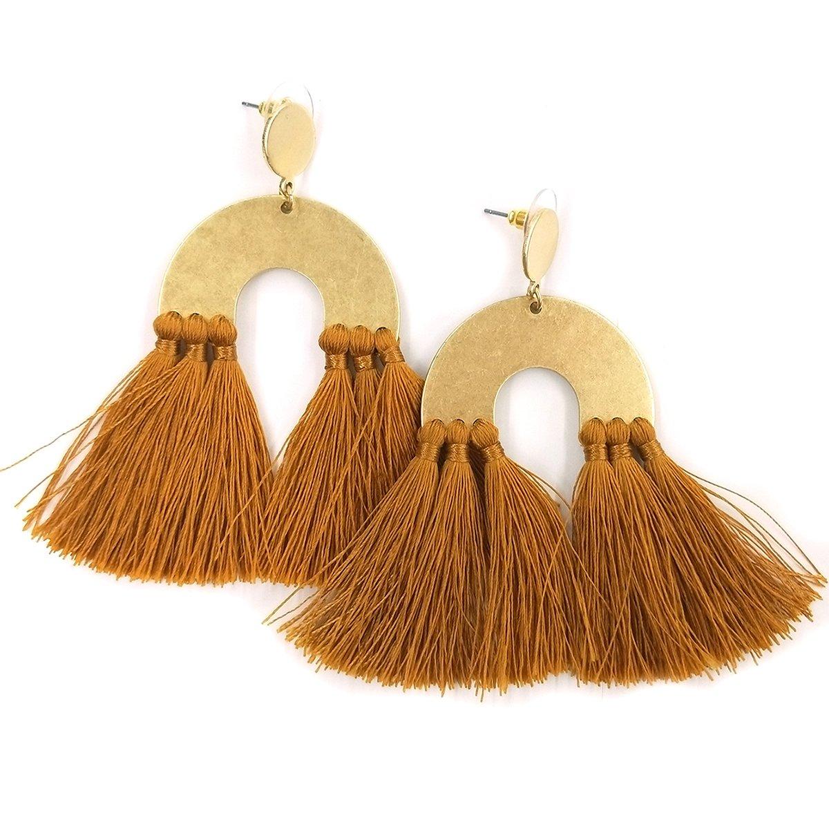Drop Tassel Earrings for Women Girls Boho Dangle Earring Tassels, Designer Tassels Jewelry Making By MeliMe (Wheat)
