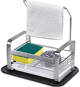 XTUTU Sponge Holder Kitchen Sink Caddy Cleaning Brush Soap Organizer Rack, with Drain Tray and Free Gift- Silicone Mat (Black)