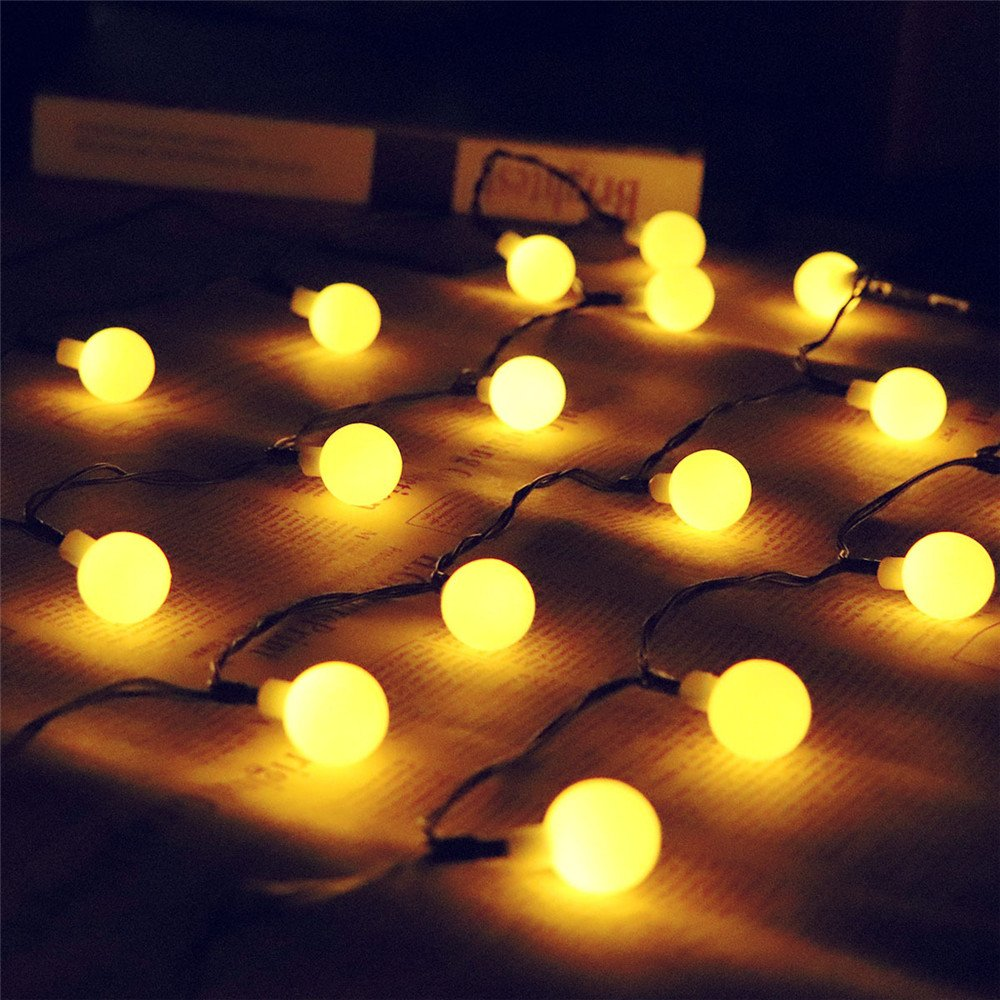 Solar String Ball Lights, Vacio Waterproof 50 LEDs Outdoor Indoor String Lamp, Decorative Lights for Christmas Xmas Festival Party Decorations-Warm White