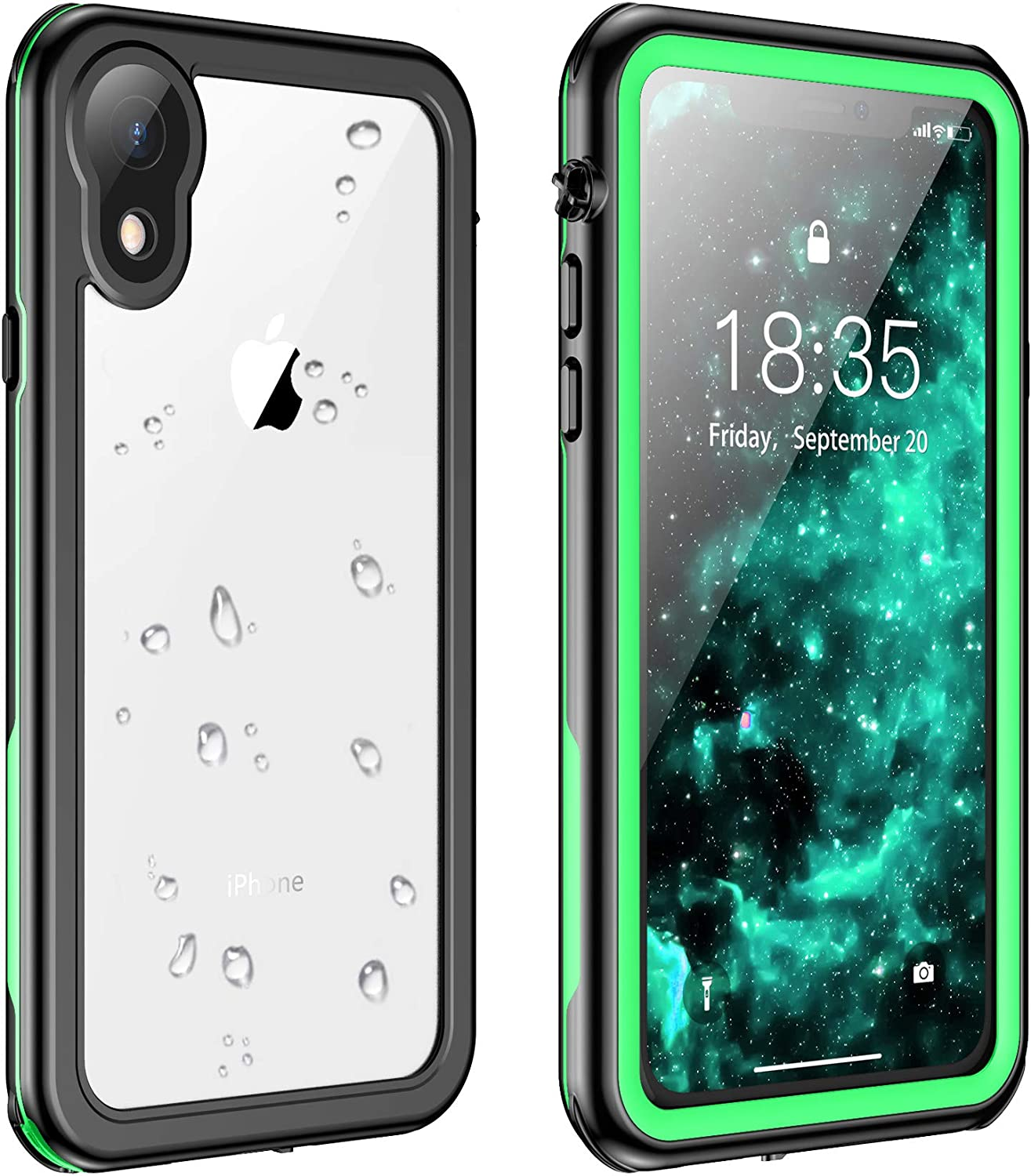 Justcool for iPhone XR Case Waterproof, Full Body with Built-in Screen Protector Rugged Clear Case for iPhone XR 6.1 inch (Green/Clear)